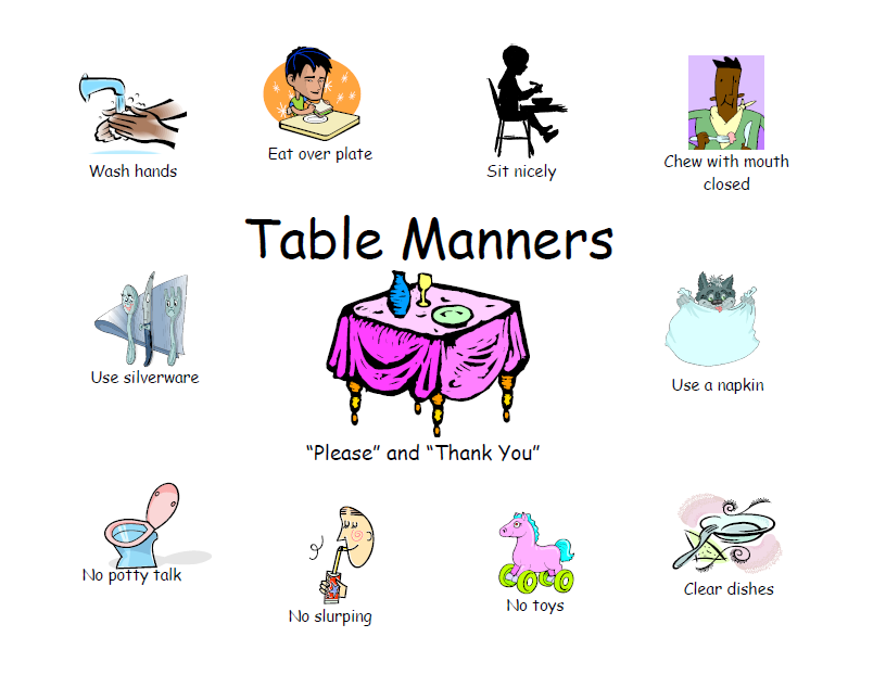 Table Manners Chart